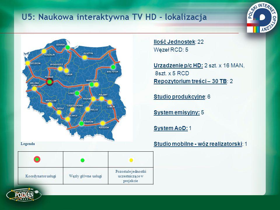 U5: Naukowa interaktywna TV HD - lokalizacja Ilość Jednostek: 22 Węzeł RCD: 5 Urządzenie p/c HD: 2 szt. x 16 MAN, 8szt. x 5 RCD Repozytorium treści –