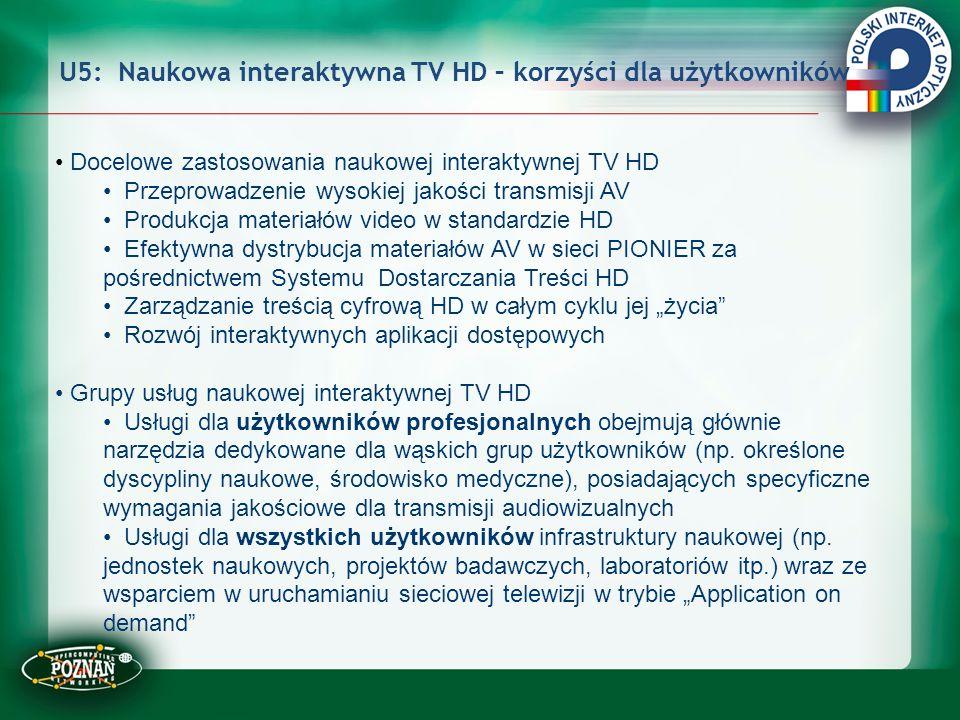 U5: Naukowa interaktywna TV HD – korzyści dla użytkowników Docelowe zastosowania naukowej interaktywnej TV HD Przeprowadzenie wysokiej jakości transmi