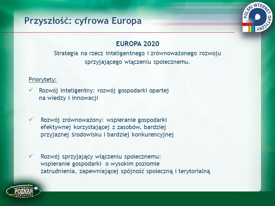 Przyszłość: cyfrowa Europa EUROPA 2020 Strategia na rzecz inteligentnego i zrównoważonego rozwoju sprzyjającego włączeniu społecznemu. Priorytety: Roz