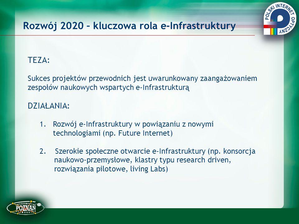 Rozwój 2020 – kluczowa rola e-Infrastruktury TEZA: Sukces projektów przewodnich jest uwarunkowany zaangażowaniem zespołów naukowych wspartych e-Infras