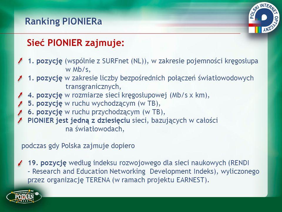 Ranking PIONIERa Sieć PIONIER zajmuje: 1. pozycję (wspólnie z SURFnet (NL)), w zakresie pojemności kręgosłupa w Mb/s, 1. pozycję w zakresie liczby bez