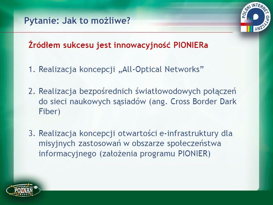"""Pytanie: Jak to możliwe? Źródłem sukcesu jest innowacyjność PIONIERa 1.Realizacja koncepcji """"All-Optical Networks"""" 2.Realizacja bezpośrednich światłow"""