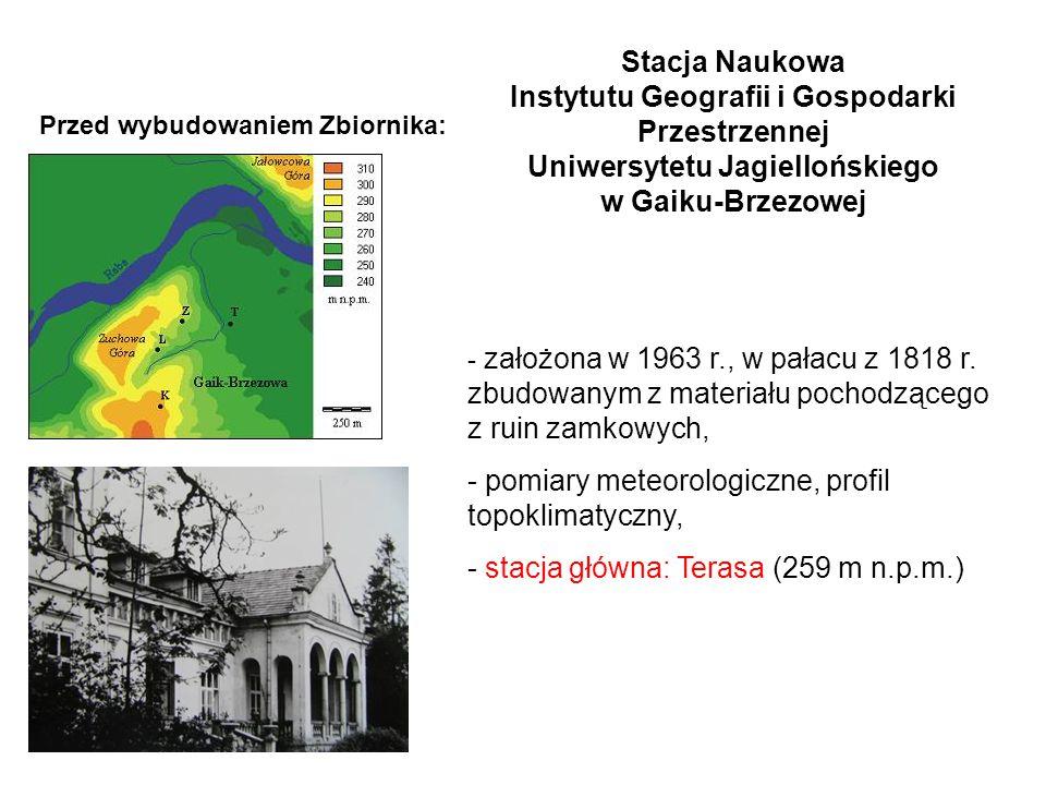 Stacja Naukowa Instytutu Geografii i Gospodarki Przestrzennej Uniwersytetu Jagiellońskiego w Gaiku-Brzezowej Przed wybudowaniem Zbiornika: - założona