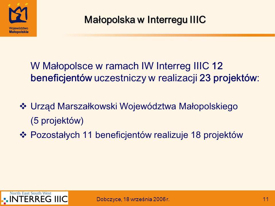 Dobczyce, 18 września 2006 r. 11 W Małopolsce w ramach IW Interreg IIIC 12 beneficjentów uczestniczy w realizacji 23 projektów:  Urząd Marszałkowski