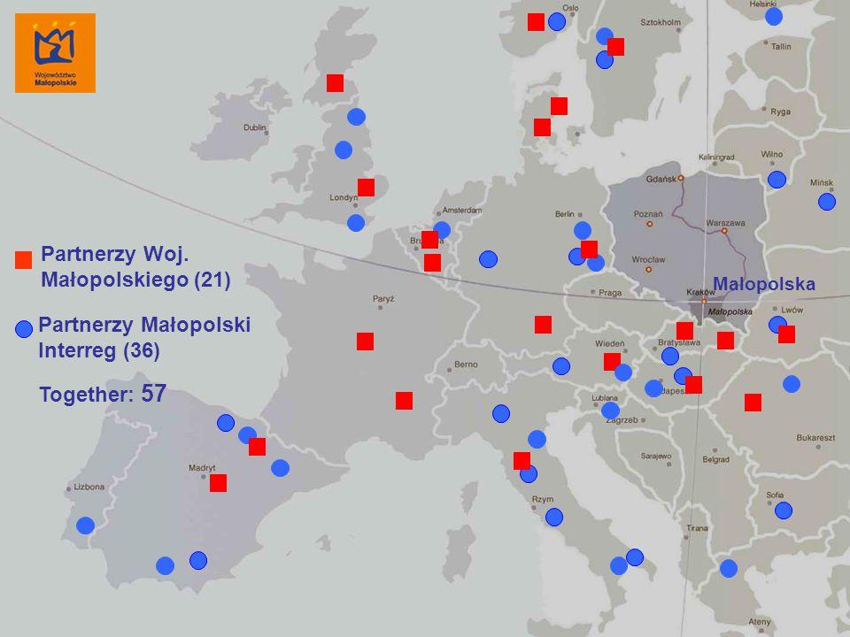 Dobczyce, 18 września 2006 r. 14 Malopolska Partnerzy Małopolski Interreg (36) Partnerzy Woj. Małopolskiego (21) Together: 57