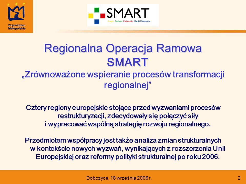 """Dobczyce, 18 września 2006 r. 2 Regionalna Operacja Ramowa SMART """"Zrównoważone wspieranie procesów transformacji regionalnej"""" Cztery regiony europejsk"""