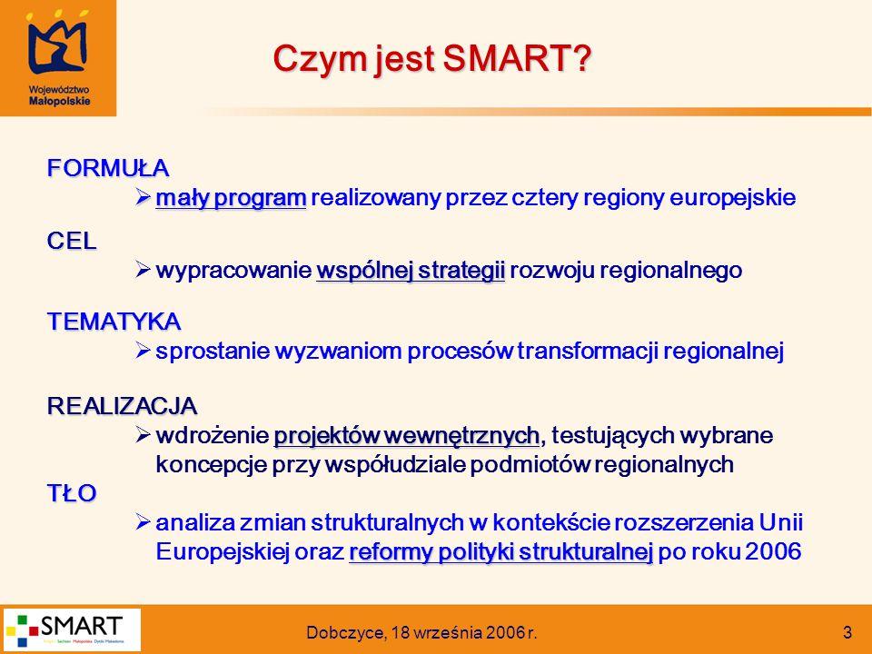 Dobczyce, 18 września 2006 r. 3 FORMUŁA  mały program  mały program realizowany przez cztery regiony europejskieCEL wspólnej strategii  wypracowani