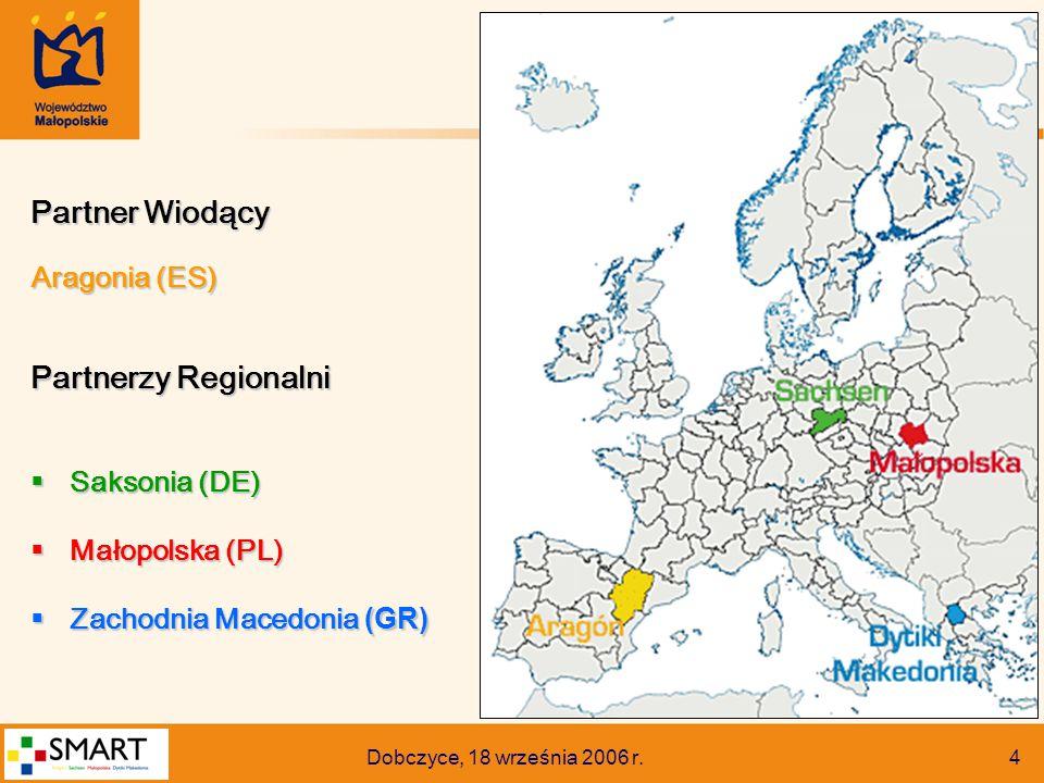 Dobczyce, 18 września 2006 r. 4 Partner Wiodący Aragonia (ES) Partnerzy Regionalni  Saksonia (DE)  Małopolska (PL)  Zachodnia Macedonia (GR)