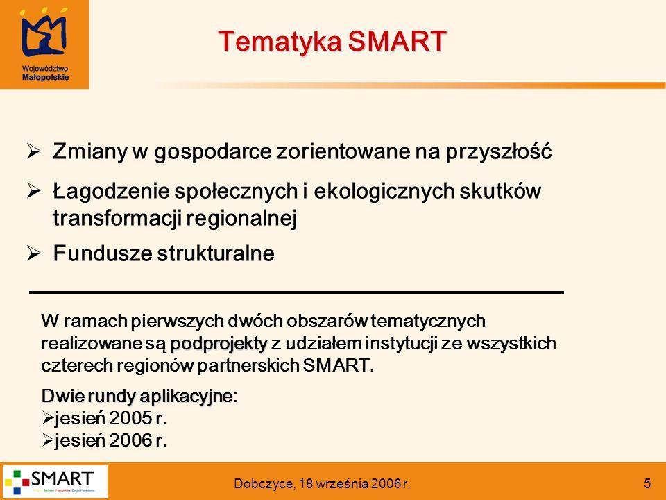 Dobczyce, 18 września 2006 r. 5  Zmiany w gospodarce zorientowane na przyszłość  Łagodzenie społecznych i ekologicznych skutków transformacji region