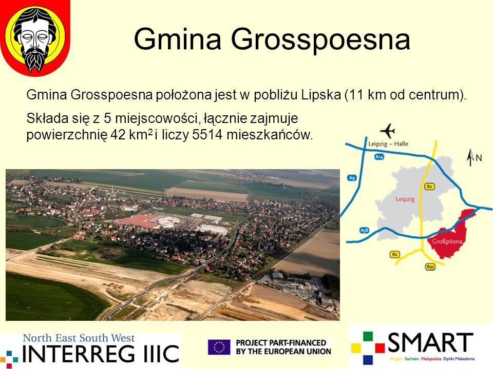 Gmina Grosspoesna Gmina Grosspoesna położona jest w pobliżu Lipska (11 km od centrum). Składa się z 5 miejscowości, łącznie zajmuje powierzchnię 42 km