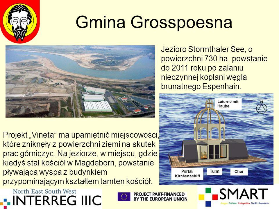 Gmina Grosspoesna Jezioro Störmthaler See, o powierzchni 730 ha, powstanie do 2011 roku po zalaniu nieczynnej koplani węgla brunatnego Espenhain. Proj