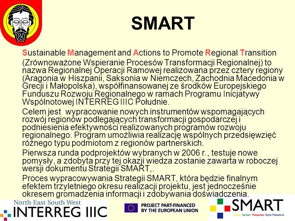 SMART Sustainable Management and Actions to Promote Regional Transition (Zrównoważone Wspieranie Procesów Transformacji Regionalnej) to nazwa Regionalnej Operacji Ramowej realizowana przez cztery regiony (Aragonia w Hiszpanii, Saksonia w Niemczech, Zachodnia Macedonia w Grecji i Małopolska), współfinansowanej ze środków Europejskiego Funduszu Rozwoju Regionalnego w ramach Programu Inicjatywy Wspólnotowej INTERREG IIIC Południe.