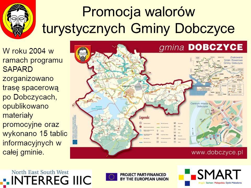 Promocja walorów turystycznych Gminy Dobczyce W roku 2004 w ramach programu SAPARD zorganizowano trasę spacerową po Dobczycach, opublikowano materiały promocyjne oraz wykonano 15 tablic informacyjnych w całej gminie.