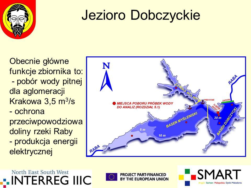 Jezioro Dobczyckie Obecnie główne funkcje zbiornika to: - pobór wody pitnej dla aglomeracji Krakowa 3,5 m 3 /s - ochrona przeciwpowodziowa doliny rzeki Raby - produkcja energii elektrycznej