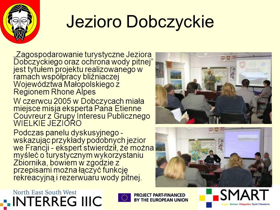 """Jezioro Dobczyckie """"Zagospodarowanie turystyczne Jeziora Dobczyckiego oraz ochrona wody pitnej"""" jest tytułem projektu realizowanego w ramach współprac"""