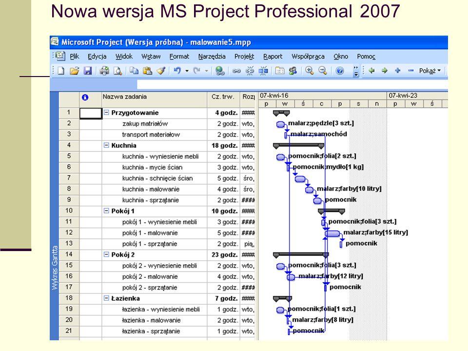 Nowa wersja MS Project Professional 2007