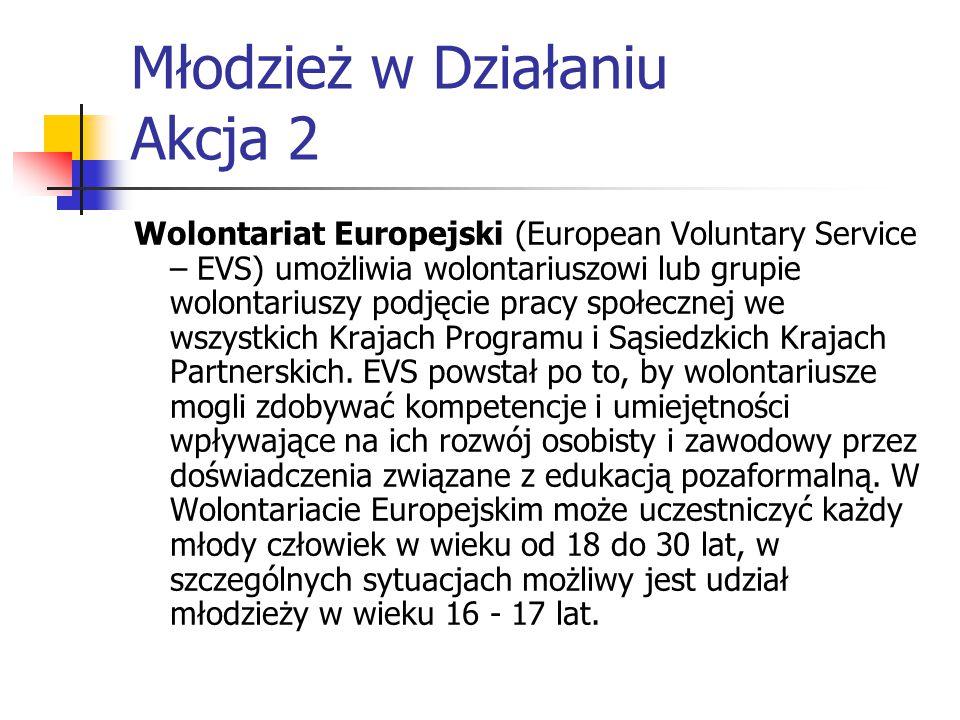 Młodzież w Działaniu Akcja 2 Wolontariat Europejski (European Voluntary Service – EVS) umożliwia wolontariuszowi lub grupie wolontariuszy podjęcie pracy społecznej we wszystkich Krajach Programu i Sąsiedzkich Krajach Partnerskich.