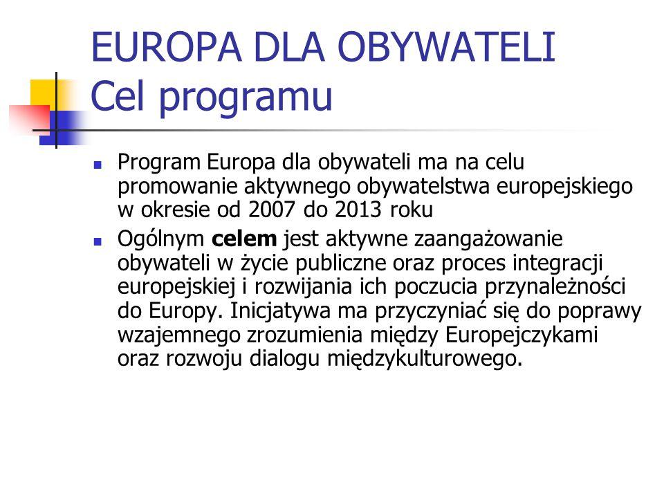 EUROPA DLA OBYWATELI Cel programu Program Europa dla obywateli ma na celu promowanie aktywnego obywatelstwa europejskiego w okresie od 2007 do 2013 roku Ogólnym celem jest aktywne zaangażowanie obywateli w życie publiczne oraz proces integracji europejskiej i rozwijania ich poczucia przynależności do Europy.