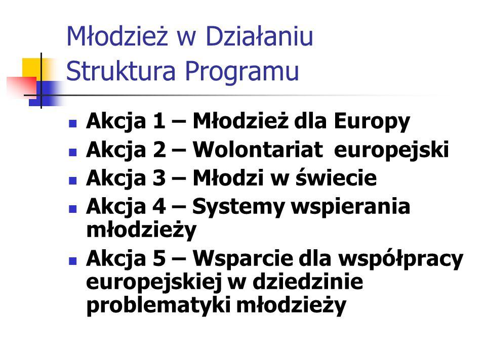 Młodzież w Działaniu Struktura Programu Akcja 1 – Młodzież dla Europy Akcja 2 – Wolontariat europejski Akcja 3 – Młodzi w świecie Akcja 4 – Systemy wspierania młodzieży Akcja 5 – Wsparcie dla współpracy europejskiej w dziedzinie problematyki młodzieży