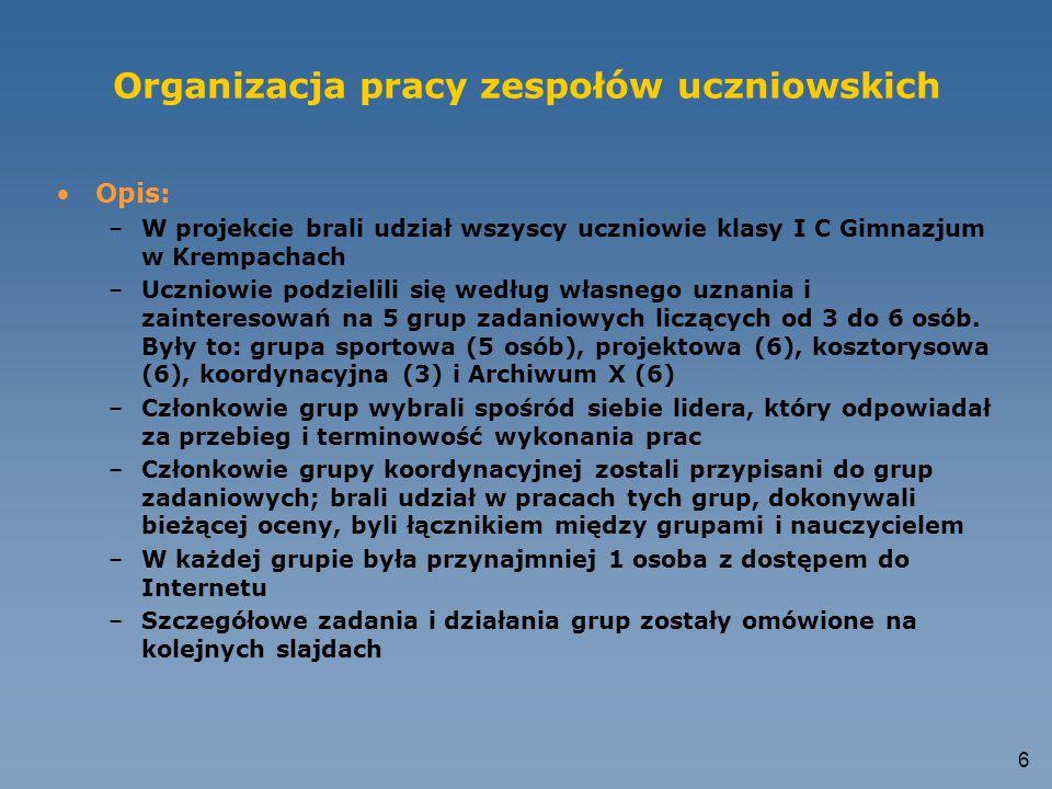 6 Organizacja pracy zespołów uczniowskich Opis: –W projekcie brali udział wszyscy uczniowie klasy I C Gimnazjum w Krempachach –Uczniowie podzielili się według własnego uznania i zainteresowań na 5 grup zadaniowych liczących od 3 do 6 osób.