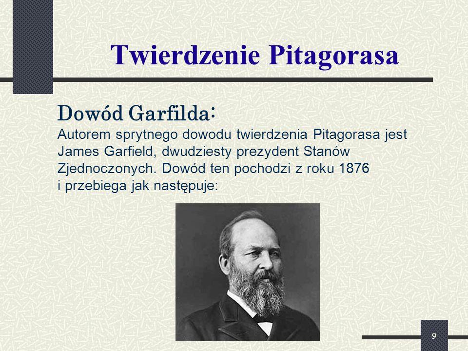 10 Twierdzenie Pitagorasa Dowód Garfielda: na przyprostokątnej   BC   = a danego trójkąta prostokątnego ΔABC odkładamy   CD   =   AB   = b, a następnie na prostej ED równoległej do AB odkładamy   BC   = a.