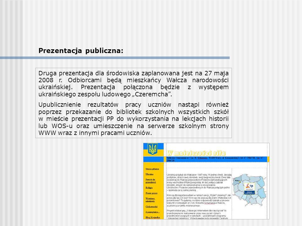 Prezentacja publiczna: Druga prezentacja dla środowiska zaplanowana jest na 27 maja 2008 r. Odbiorcami będą mieszkańcy Wałcza narodowości ukraińskiej.