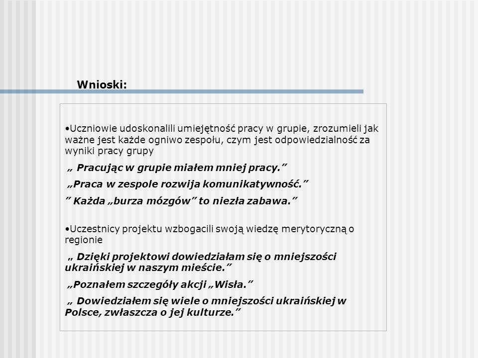 Wnioski: Uczniowie udoskonalili umiejętność pracy w grupie, zrozumieli jak ważne jest każde ogniwo zespołu, czym jest odpowiedzialność za wyniki pracy