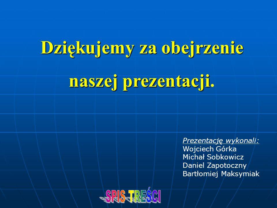 Dziękujemy za obejrzenie naszej prezentacji naszej prezentacji. Prezentację wykonali: Wojciech Górka Michał Sobkowicz Daniel Zapotoczny Bartłomiej Mak