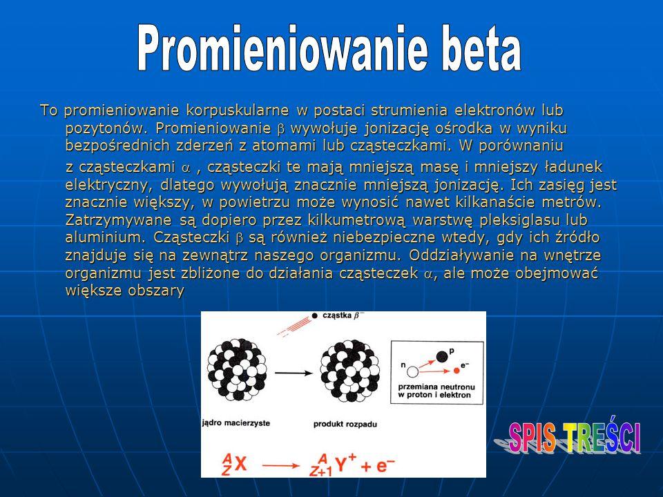 To promieniowanie korpuskularne w postaci strumienia elektronów lub pozytonów. Promieniowanie  wywołuje jonizację ośrodka w wyniku bezpośrednich zder