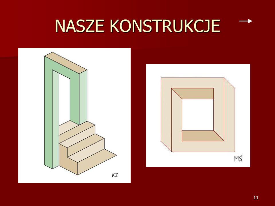 10 ESCHER W KSIĄŻCE Escher'owskie figury możemy znaleźć też w książce: Tytuł: Na drugi rzut oka Przygoda w krainie iluzji Tytuł: Na drugi rzut oka Prz