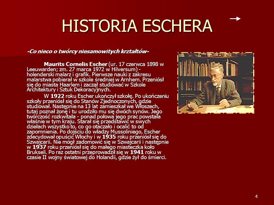4 HISTORIA ESCHERA -Co nieco o twórcy niesamowitych krztałtów- Maurits Cornelis Escher (ur.