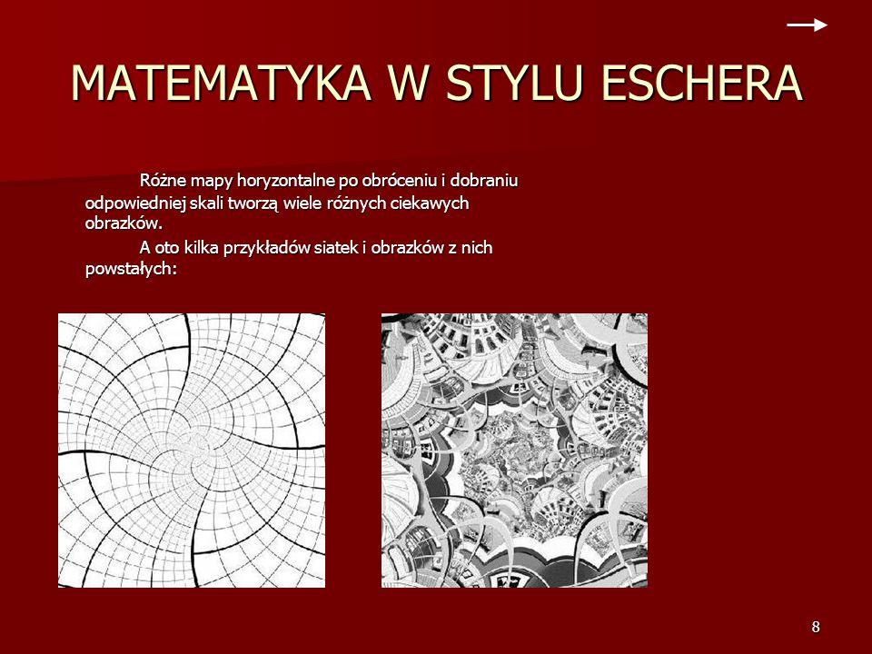 7 MATEMATYKA W STYLU ESCHERA Obrazki poniżej pokazują siatkę pomocniczą w stylu eschera, która składa się z symetrycznych kafelków. Są one przekształc