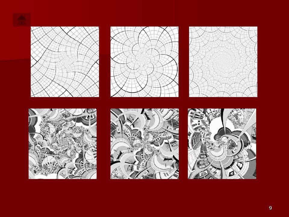 8 MATEMATYKA W STYLU ESCHERA Różne mapy horyzontalne po obróceniu i dobraniu odpowiedniej skali tworzą wiele różnych ciekawych obrazków. A oto kilka p