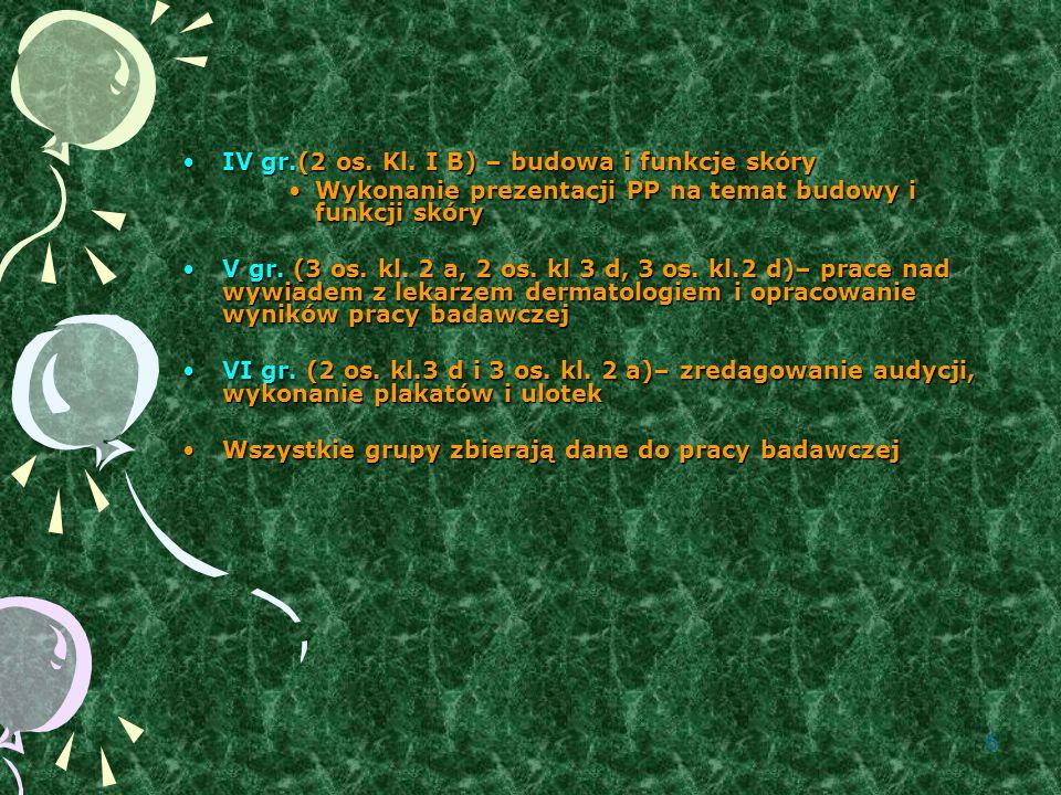 6 IV gr.(2 os.Kl. I B) – budowa i funkcje skóryIV gr.(2 os.