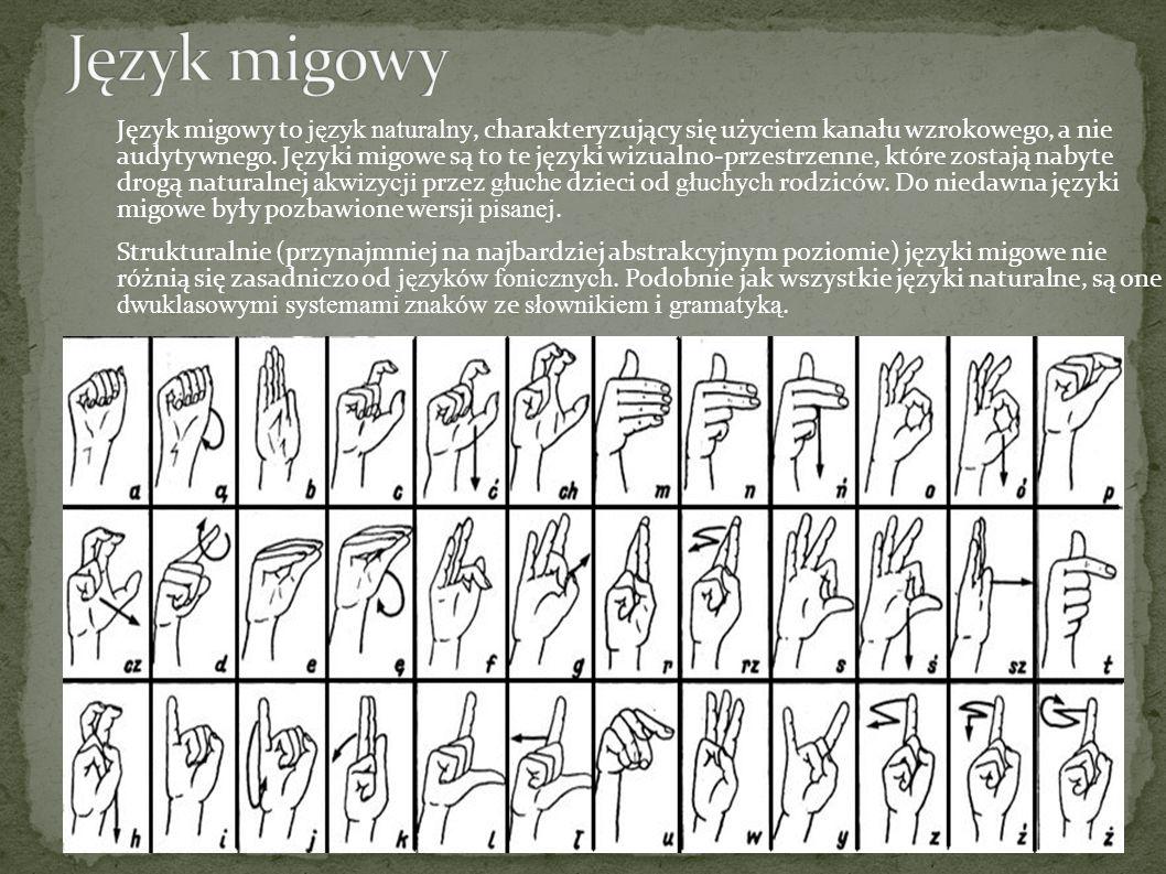 Język migowy to język naturalny, charakteryzujący się użyciem kanału wzrokowego, a nie audytywnego.