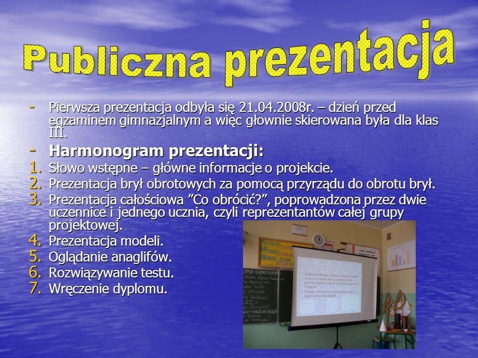 - Pierwsza prezentacja odbyła się 21.04.2008r.