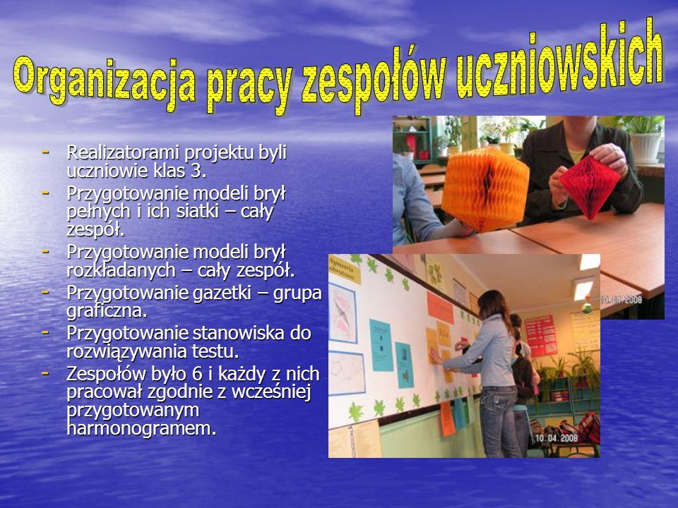 - Realizatorami projektu byli uczniowie klas 3.