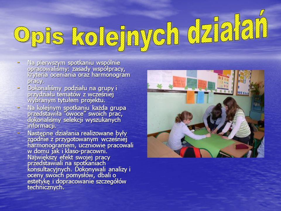 - Na pierwszym spotkaniu wspólnie opracowaliśmy: zasady współpracy, kryteria oceniania oraz harmonogram pracy.