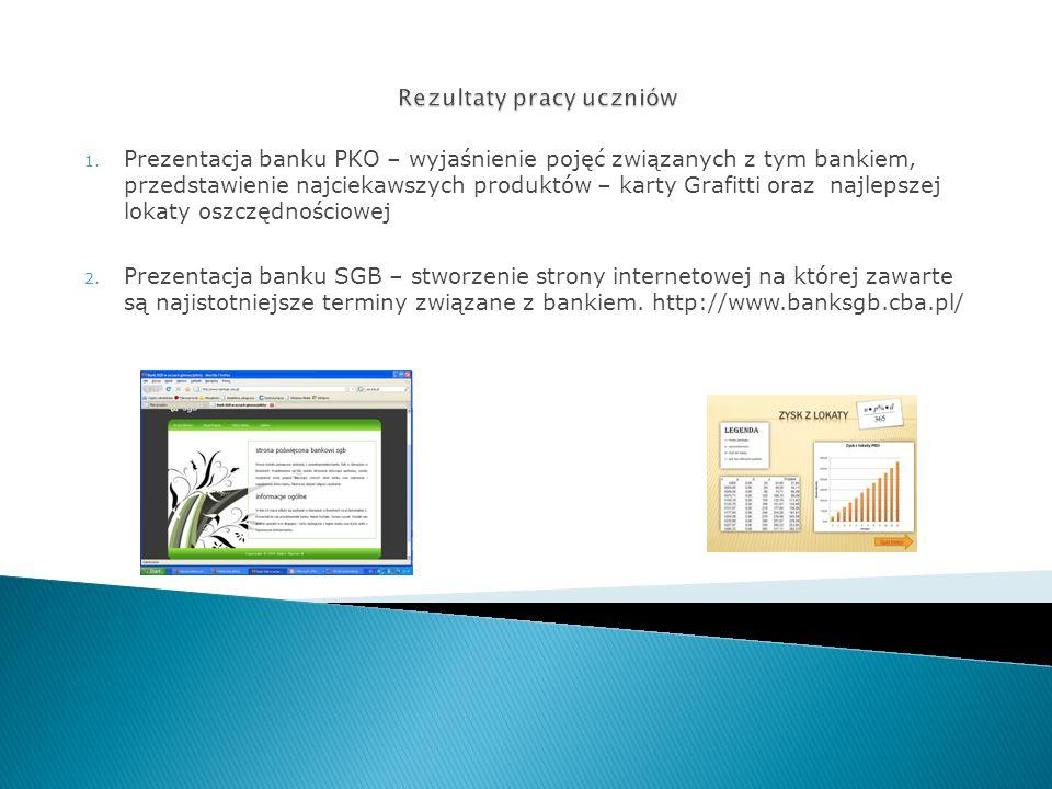 1. Prezentacja banku PKO – wyjaśnienie pojęć związanych z tym bankiem, przedstawienie najciekawszych produktów – karty Grafitti oraz najlepszej lokaty