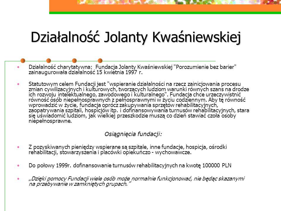 Działalność Jolanty Kwaśniewskiej Działalność charytatywna: Fundacja Jolanty Kwaśniewskiej