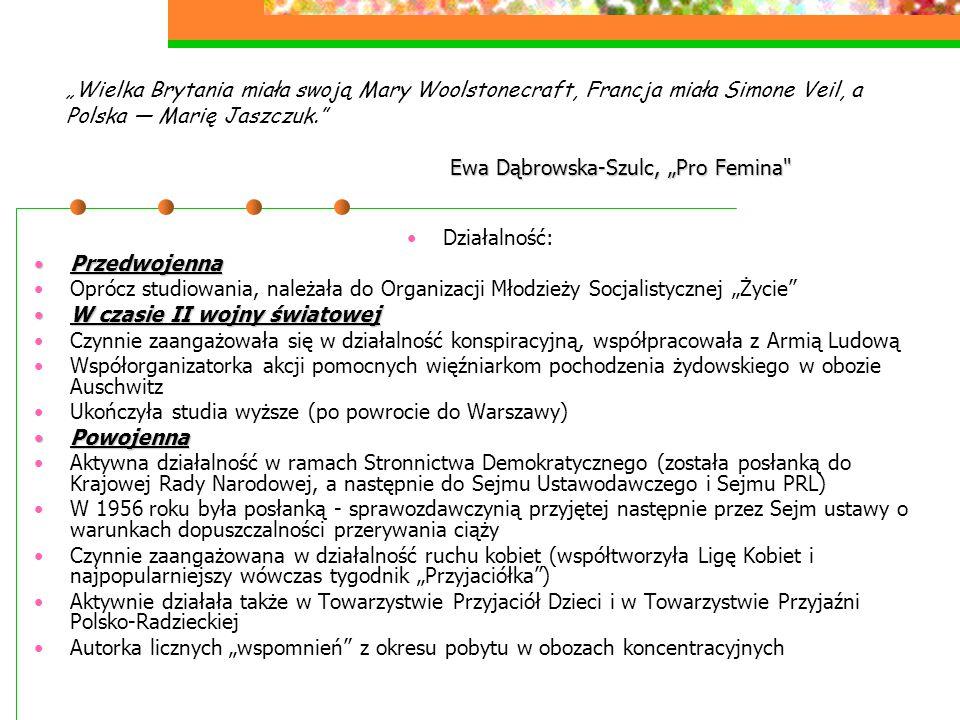 """Ewa Dąbrowska-Szulc, """"Pro Femina"""