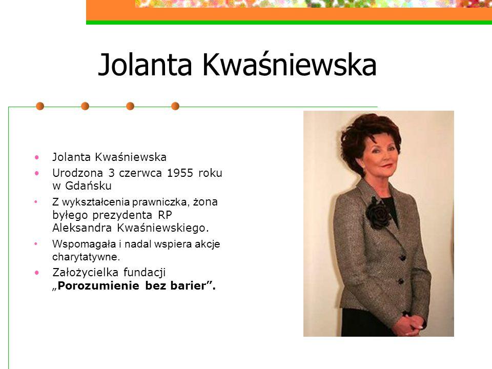 Działalność Jolanty Kwaśniewskiej Działalność charytatywna: Fundacja Jolanty Kwaśniewskiej Porozumienie bez barier zainaugurowała działalność 15 kwietnia 1997 r.