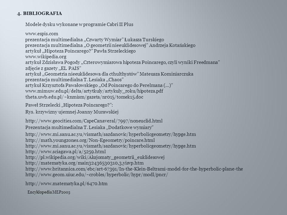 """4. BIBLIOGRAFIA Modele dysku wykonane w programie Cabri II Plus www.espis.com prezentacja multimedialna,,Czwarty Wymiar"""" Łukasza Turskiego prezentacja"""