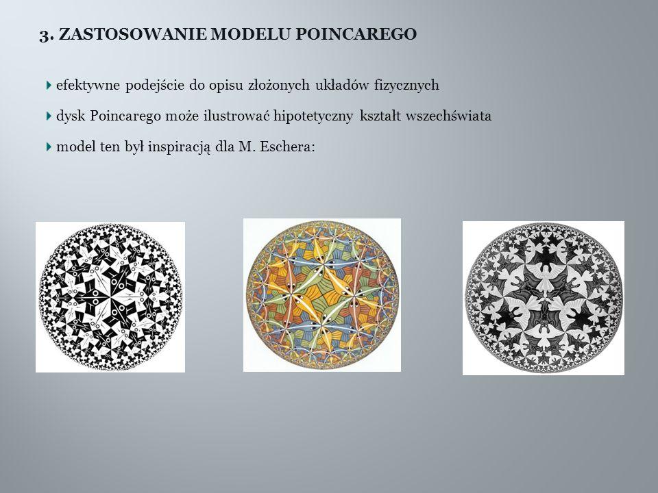 3. ZASTOSOWANIE MODELU POINCAREGO efektywne podejście do opisu złożonych układów fizycznych dysk Poincarego może ilustrować hipotetyczny kształt wszec
