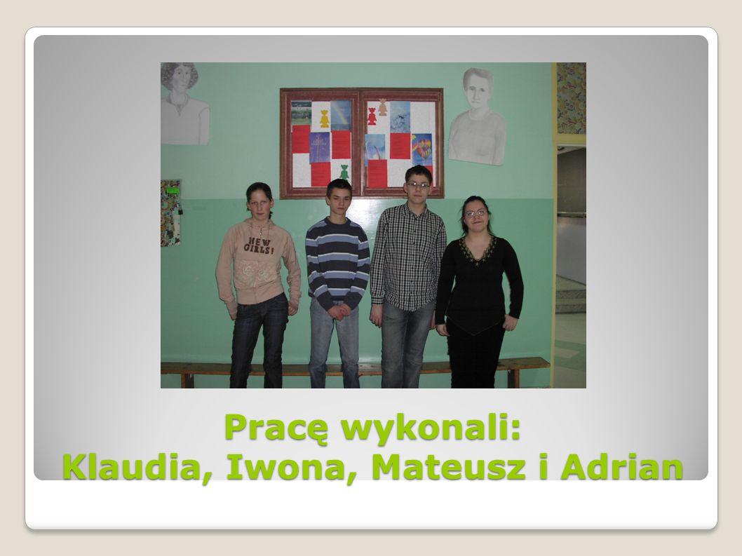 Pracę wykonali: Klaudia, Iwona, Mateusz i Adrian