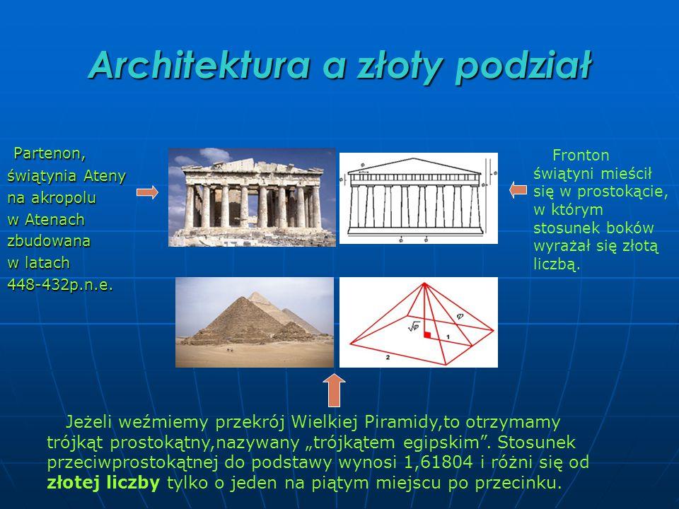 Architektura a złoty podział Partenon, Partenon, świątynia Ateny na akropolu w Atenach zbudowana w latach 448-432p.n.e.