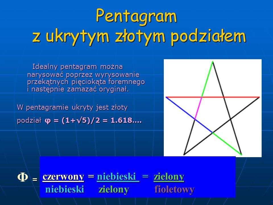Pentagram z ukrytym złotym podziałem Idealny pentagram można narysować poprzez wyrysowanie przekątnych pięciokąta foremnego i następnie zamazać oryginał.