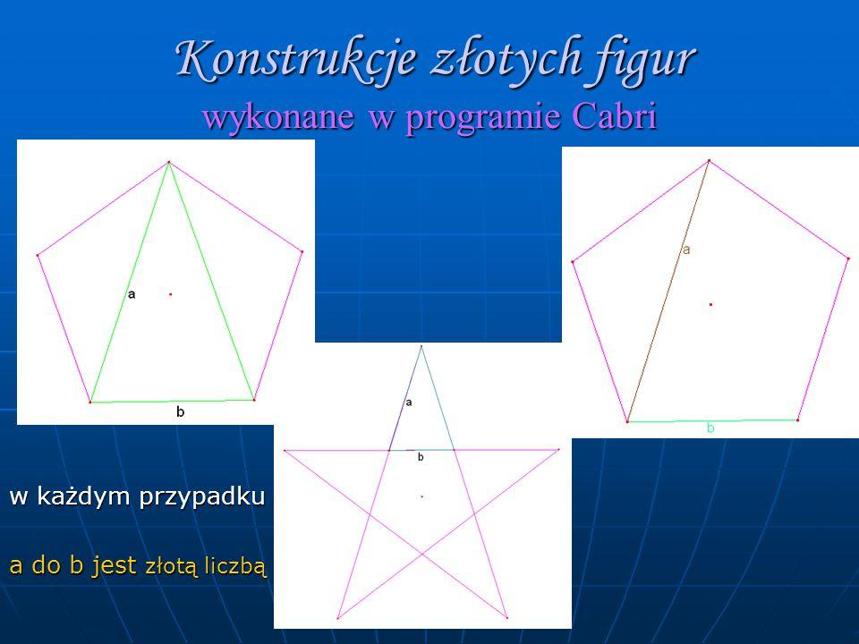 Konstrukcje złotych figur wykonane w programie Cabri w każdym przypadku a do b jest złotą liczbą