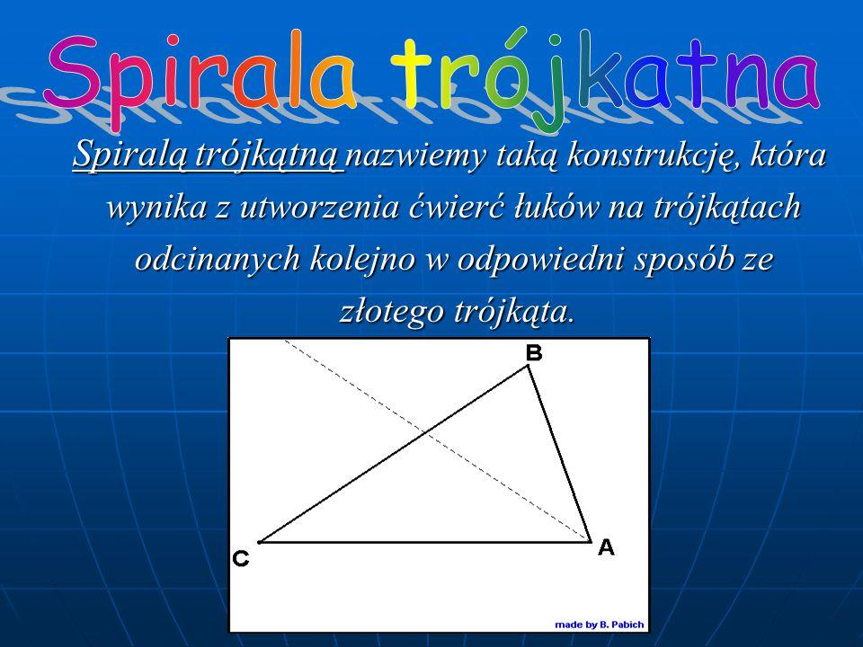 Spiralą trójkątną nazwiemy taką konstrukcję, która wynika z utworzenia ćwierć łuków na trójkątach odcinanych kolejno w odpowiedni sposób ze złotego trójkąta.