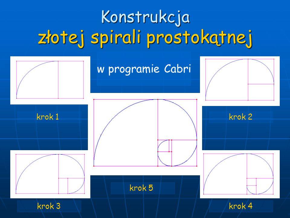 Konstrukcja złotej spirali prostokątnej krok 1krok 2 krok 3 krok 5 krok 4 w programie Cabri